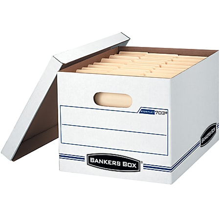 """Bankers Box® Stor/File™ Standard-Duty Storage Boxes With Lift-Off Lids And Built-In Handles, Letter/Legal Size, 15"""" x 12"""" x 10"""", 60% Recycled, White/Blue, Case Of 5"""