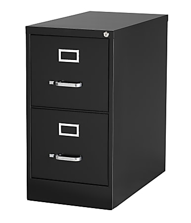 """WorkPro® 26-1/2""""D Vertical 2-Drawer Letter-Size File Cabinet, Metal, Black"""