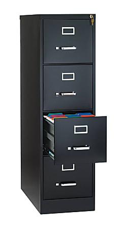 """WorkPro® 26-1/2""""D Vertical 4-Drawer File Cabinet, Metal, Black"""