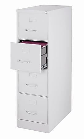 "WorkPro® 26-1/2""D Vertical 4-Drawer Letter-Size File Cabinet, Metal, Light Gray"