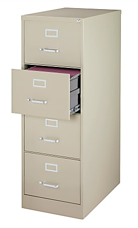 """WorkPro® 26-1/2""""D Vertical 4-Drawer Legal-Size File Cabinet, Metal, Putty"""
