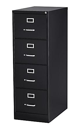 """WorkPro® 26-1/2""""D Vertical 4-Drawer Legal-Size File Cabinet, Metal, Black"""