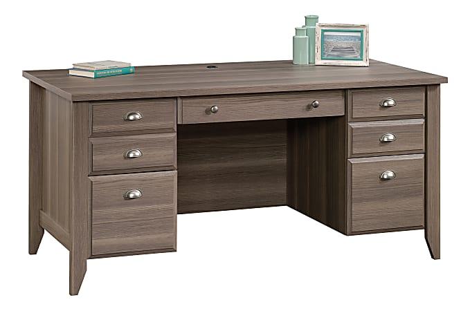 "Sauder® Shoal Creek 66""W Executive Desk, Diamond Ash"