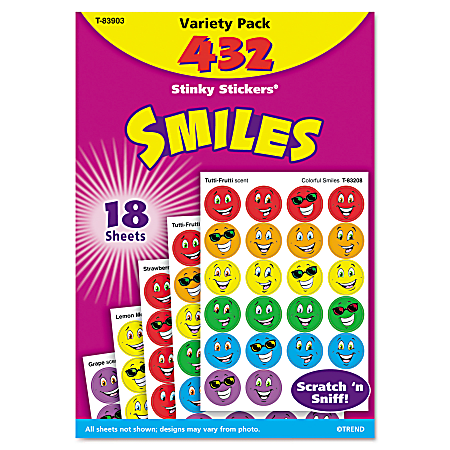 Trend® Stinky Stickers, Smiles, Pack Of 432