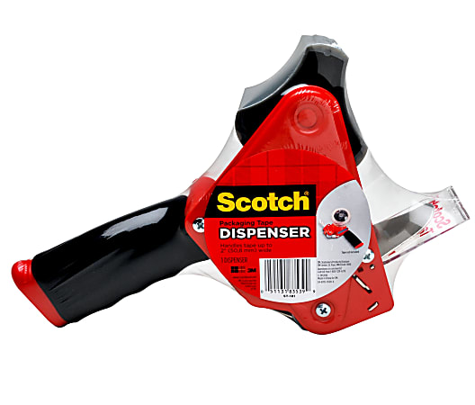 Scotch® Packing Tape Dispenser With Retractable Blade, Red
