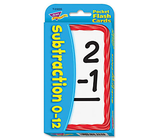 Trend Pocket Flash Cards, Subtraction, Box Of 56 Cards