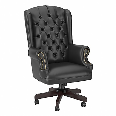 Bush® Business Furniture Yorkshire Wingback Ergonomic Ergonomic Leather Executive Office Chair With Nail Head Trim, Black, Standard Delivery
