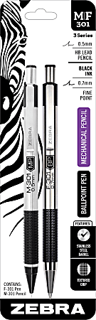 Zebra® M/F301 Ballpoint Pen And Pencil Set, Fine Point, 0.5 mm, Black Barrel