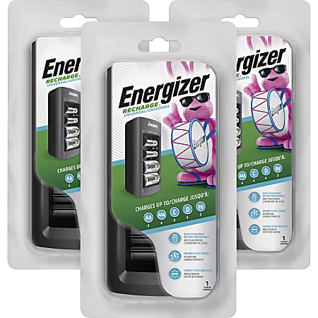 Energizer Family Size NiMH Battery Charger - 3 / Carton - 7 Hour ChargingAA, AAA, C, D, 9V