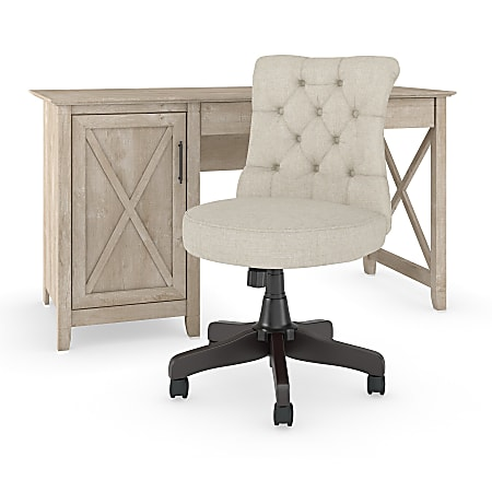 """Bush Furniture Key West 54""""W Computer Desk With Mid-Back Tufted Office Chair, Washed Gray, Standard Delivery"""