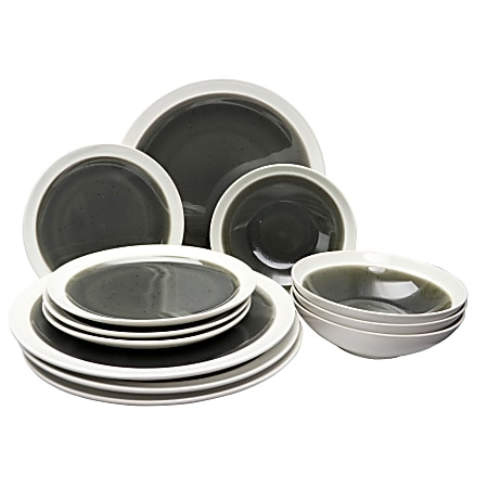 Gibson Elite Clementine 12-Piece Dinnerware Set, Gray