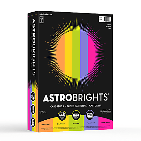 """Astrobrights® Colored Cardstock, 8.5"""" x 11"""", FSC® Certified, 65 lb., """"Happy"""" 5-Color Assortment, 250/Pack"""