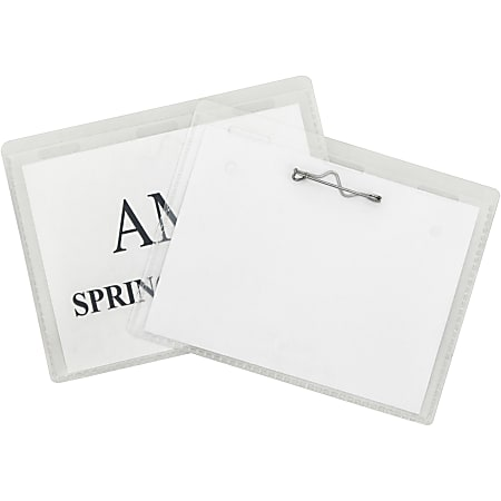 C-Line Pin Style Name Badge Holder Kit - Folded Holders with Inserts, 4 x 3, 100/BX, 94043