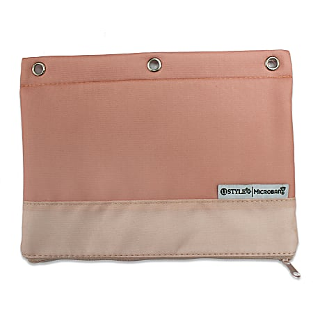 """U Style 3-Ring Pencil Pouch With Microban® Antimicrobial Protection, 7 1/2"""" x 9 3/4"""", Pink"""