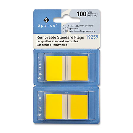"""Sparco Removable Standard Flags In Pop-Up Dispenser, 1 3/4"""" x 1"""", Yellow, Pack Of 100"""