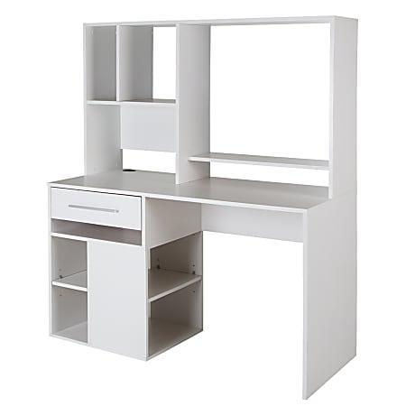 South Shore Annexe Computer Desk With Hutch, Pure White