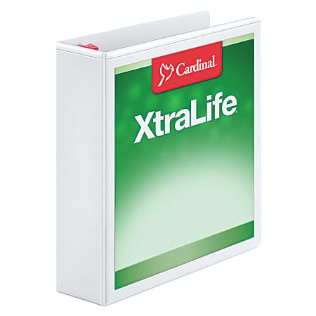 """Cardinal® XtraLife™ Locking Slant-D® Ring 3-Ring Binder, 2"""" D-Rings, 55% Recycled, White"""
