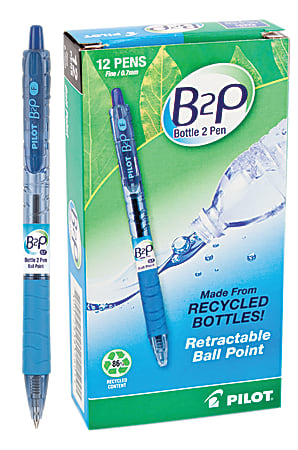 """Pilot® B2P """"Bottle To Pen"""" Retractable Ballpoint Pens, Fine Point, 0.7 mm, 86% Recycled, Transparent Blue Barrel, Blue Ink, Pack Of 12"""