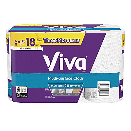 """Viva Multi-Surface Cloth Choose-A-Sheet Cloth-Like Kitchen Paper Towels, 11"""" x 5-15/16"""", White, 165 Sheets Per Roll, Pack Of 6 Rolls"""