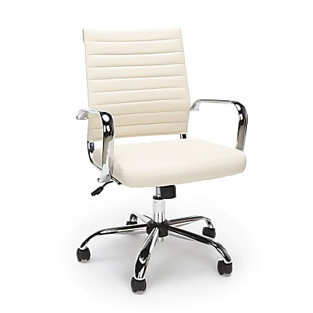 Essentials By OFM Ribbed Ergonomic Bonded Leather High-Back Chair, Ivory/Black