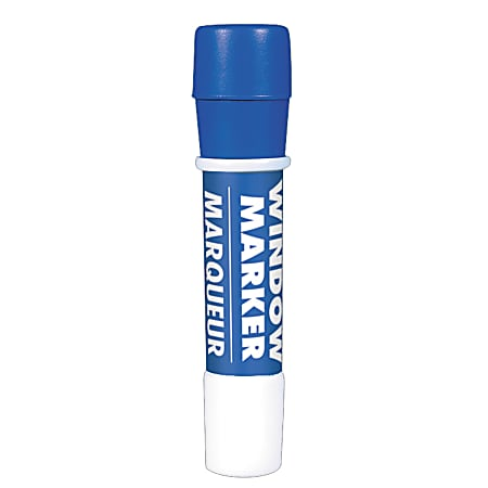 Amscan Window Markers, Broad Point, Blue Barrel, Blue Ink, Pack Of 4 Markers