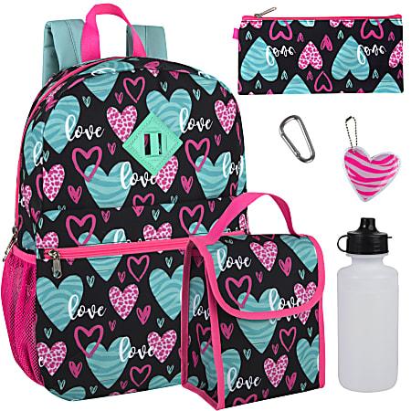 Trailmaker 6-In-1 Backpack Set, Hearts