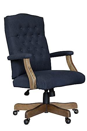 Boss Button-Tufted Ergonomic High-Back Chair, Navy Denim/Blue Linen