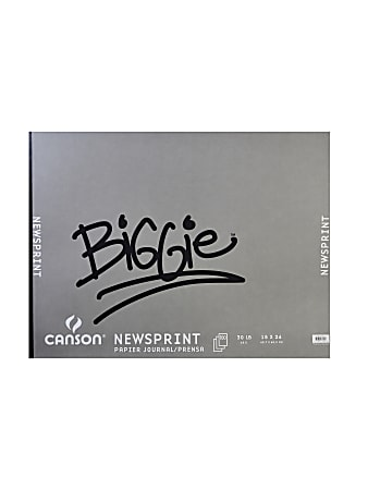 """Canson Biggie Jr. Newsprint Pads, 18"""" x 24"""", 100% Recycled, 100 Sheets Per Pad, Pack Of 2 Pads"""