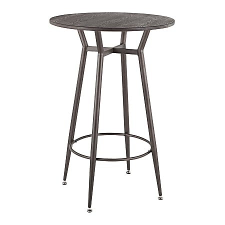 "LumiSource Clara Breakroom Table, 41""H x 27-1/2""W x 27-1/2""D, Antique Metal/Espresso Bamboo"
