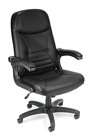 OFM MobileArm Ergonomic Bonded Leather High-Back Conference Chair, Black