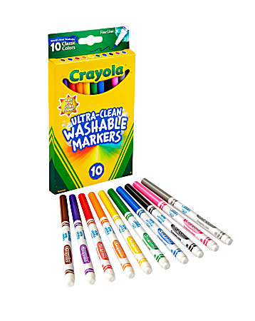 Crayola® Ultra-Clean Washable Markers, Fine Tip, Assorted Classic Colors, Box Of 10