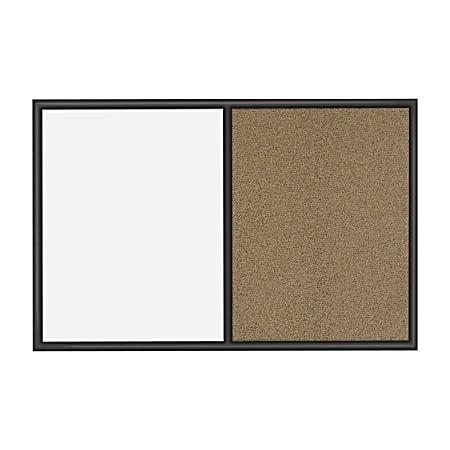 "Quartet® Non-Magnetic Melamine Dry-Erase/Bulletin Board, 24"" x 36"", Black Wood Frame"