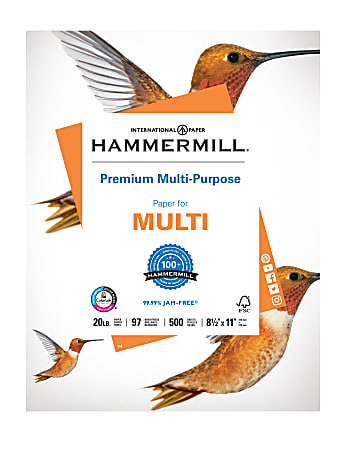"""Hammermill® Premium Multi-Use Paper, Letter Size (8 1/2"""" x 11""""), 20 Lb, White, Ream Of 500 Sheets"""