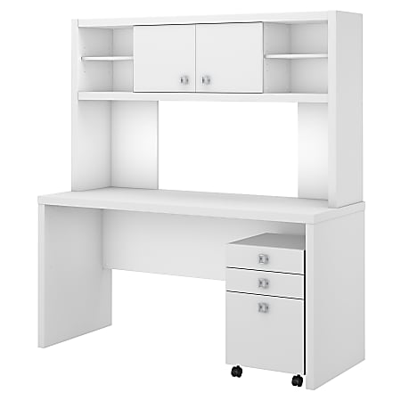 kathy ireland® Office by Bush Business Furniture Echo Credenza Desk With Hutch And Mobile File Cabinet, Pure White/Pure White, Standard Delivery
