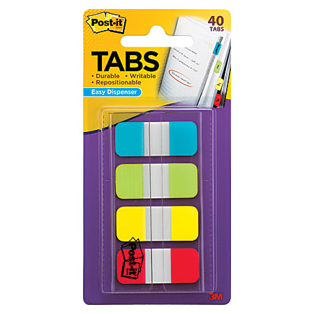 """Post-it® Durable Tabs, 5/8"""" x 1 1/5"""", Assorted Colors, 10 Flags Per Pad, Pack Of 4 Pads"""
