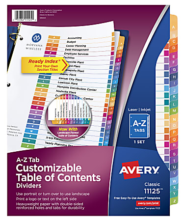 Avery® Ready Index® Table Of Contents Dividers, A-Z Tab, Multicolor