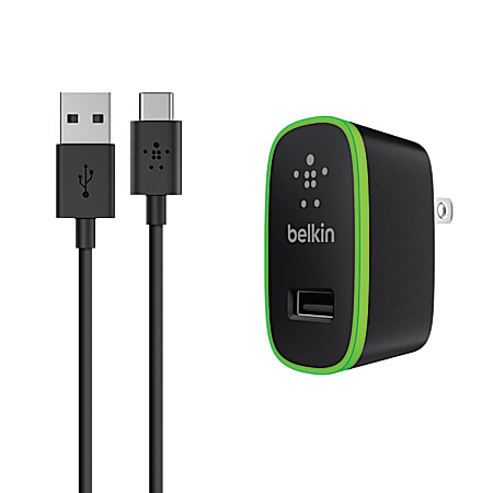Belkin® USB-C To USB-A Cable With Universal Wall Charger, 6', Black