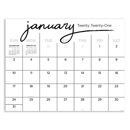 """TF Publishing Monthly Desk Pad Calendar, 22"""" x 17"""", Black And White Script, January To December 2021"""