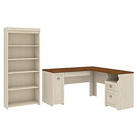 "Bush Furniture Fairview 60""W L-Shaped Desk With 5-Shelf Bookcase, Antique White, Standard Delivery"