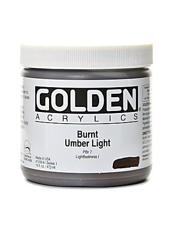 Golden Heavy Body Acrylic Paint, 16 Oz, Burnt Umber Light