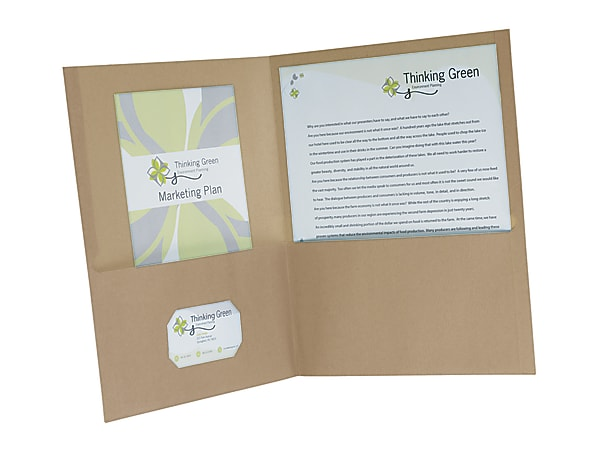 """Earthwise® By Oxford™ Twin-Pocket Folders, 8 1/2"""" x 11"""", 95% Recycled, Natural, Pack Of 25"""