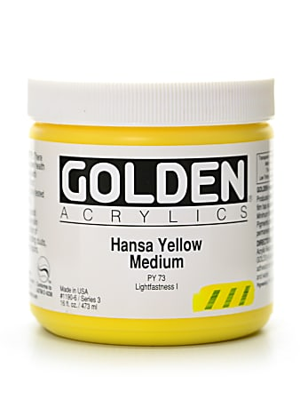 Golden Heavy Body Acrylic Paint, 16 Oz, Hansa Yellow Medium
