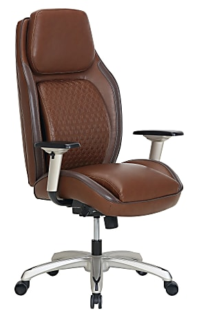 Shaquille O'Neal™ Zephyrus Ergonomic Bonded Leather High-Back Executive Chair, Brown/Silver