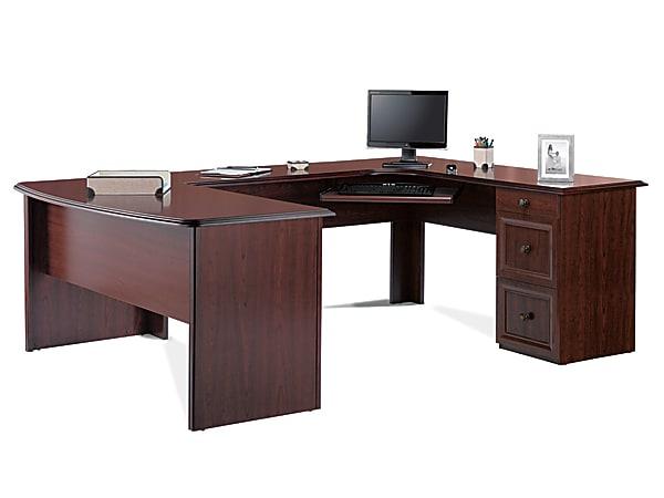 Realspace® Broadstreet U-Shaped Executive Desk, Cherry