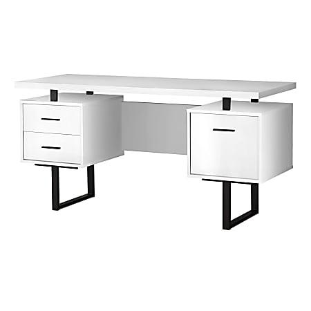 "Monarch Specialties Violet 60""W Computer Desk, White/Black"