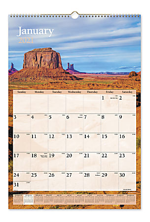 """AT-A-GLANCE® Scenic Monthly Wall Calendar, 15-1/2"""" x 22-3/4"""", Multicolor, January To December 2021, DMW20128"""