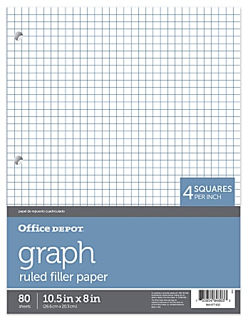 """Office Depot® Brand Quadrille-Ruled Notebook Filler Paper, 8"""" x 10 1/2"""", White, Pack Of 80 Sheets"""