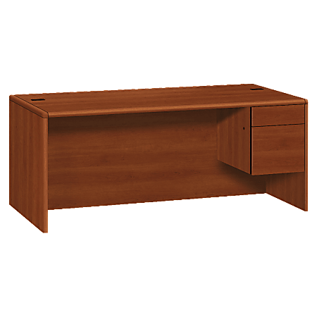 HON® 10700 Series Laminate Right Pedestal Desk, Cognac