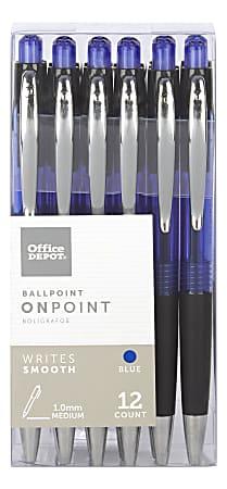 Office Depot® Brand Soft-Grip Retractable Ballpoint Pens, Medium Point, 1.0 mm, Blue Barrel, Blue Ink, Pack Of 12