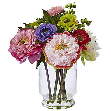 """Nearly Natural 10-1/2""""H Plastic Peony And Mum Arrangement With Glass Vase, Pink"""